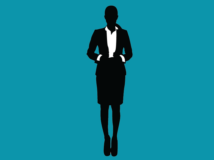 graphic icon of a working woman